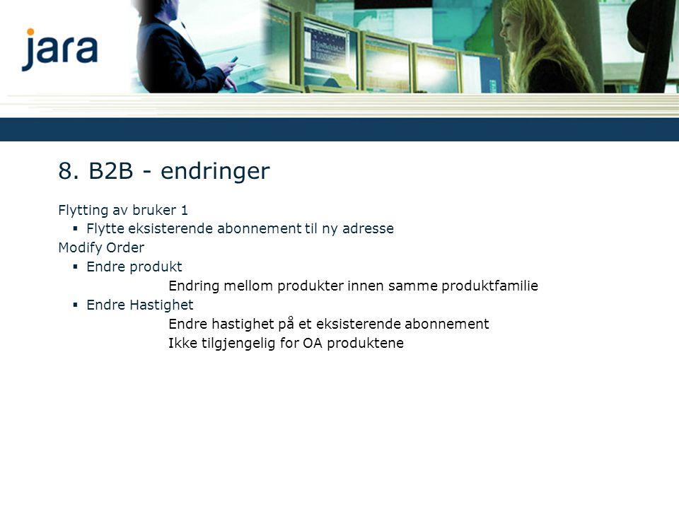 8. B2B - endringer Flytting av bruker 1  Flytte eksisterende abonnement til ny adresse Modify Order  Endre produkt Endring mellom produkter innen sa