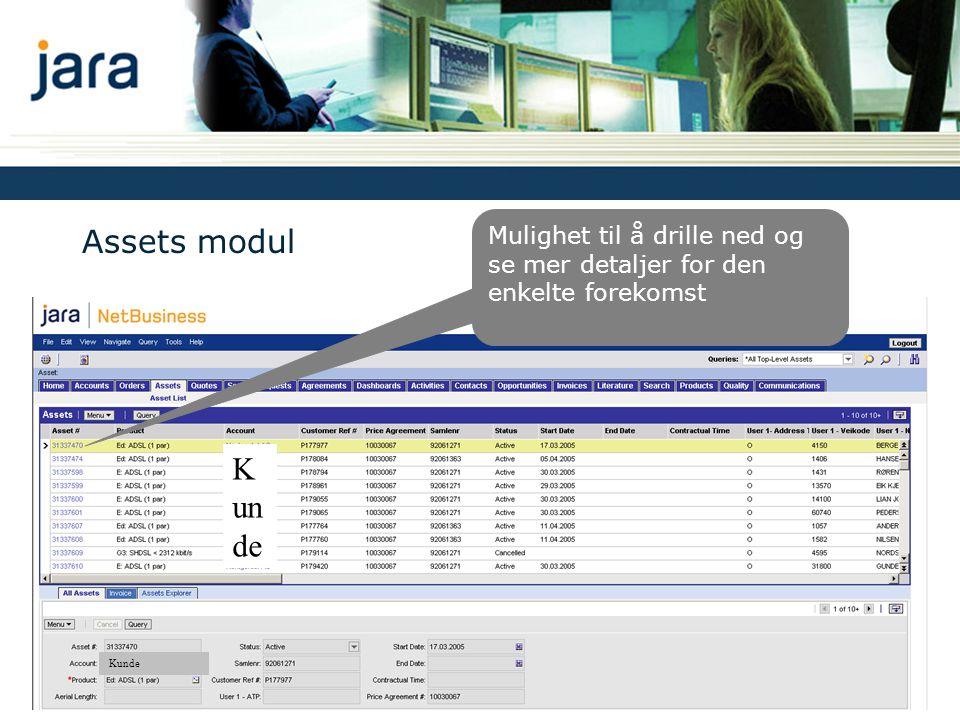 Assets modul Mulighet til å drille ned og se mer detaljer for den enkelte forekomst K un de