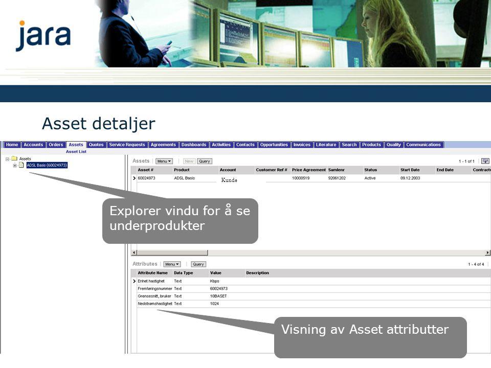 Asset detaljer Visning av Asset attributter Explorer vindu for å se underprodukter Kunde