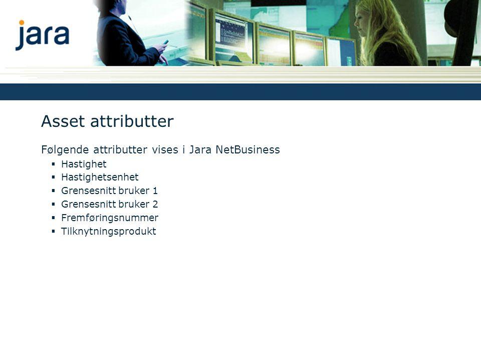 Asset attributter Følgende attributter vises i Jara NetBusiness  Hastighet  Hastighetsenhet  Grensesnitt bruker 1  Grensesnitt bruker 2  Fremføringsnummer  Tilknytningsprodukt