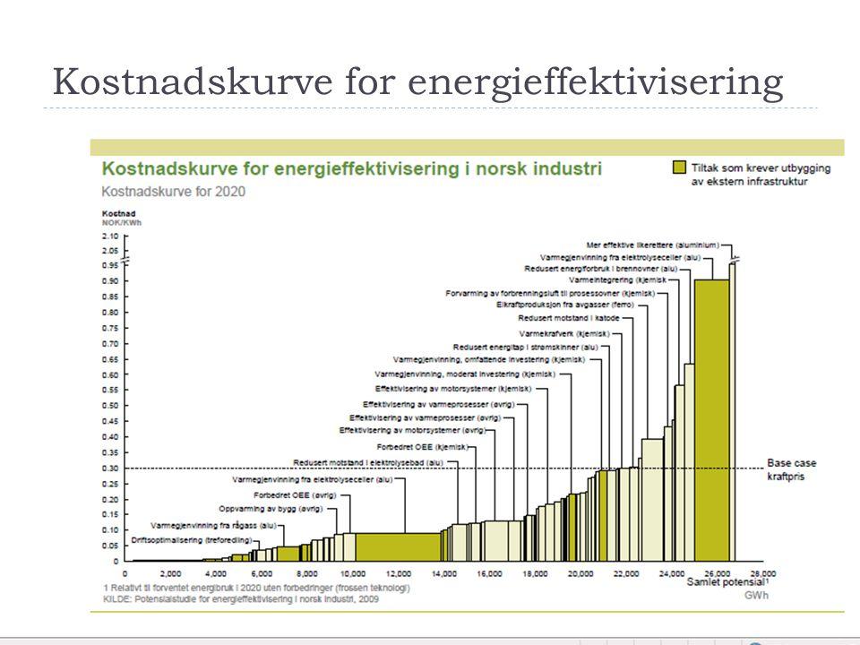 Tiltak for energieffektivisering Totalt teknisk potensial stammer fra 120 enkelttiltak som kan deles inn i 5 hovedkategorier:  Utnyttelse av lavtemperatur spillvarme; 13,3 TWh  Elektrisitetsproduksjon og kraftvarmeanlegg 1,8 TWh  Effektivisering av støttesystemer 4,3 TWh  Forbedret drift og kontroll 2,5 TWh  Industrispesifikke kjerneprosesser 4,9 TWh