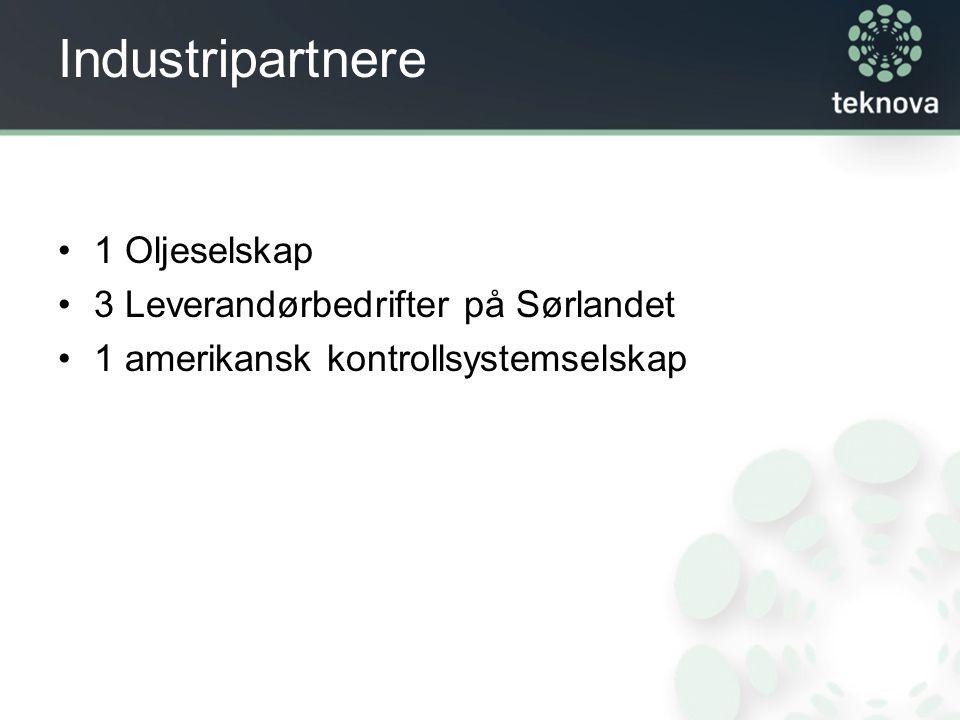 Industripartnere 1 Oljeselskap 3 Leverandørbedrifter på Sørlandet 1 amerikansk kontrollsystemselskap