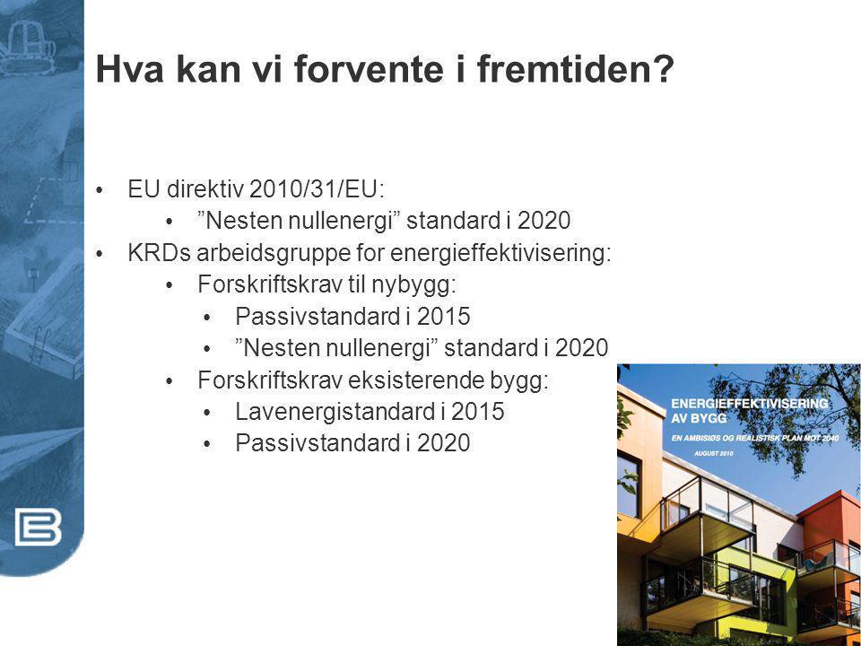 """Hva kan vi forvente i fremtiden? EU direktiv 2010/31/EU: """"Nesten nullenergi"""" standard i 2020 KRDs arbeidsgruppe for energieffektivisering: Forskriftsk"""