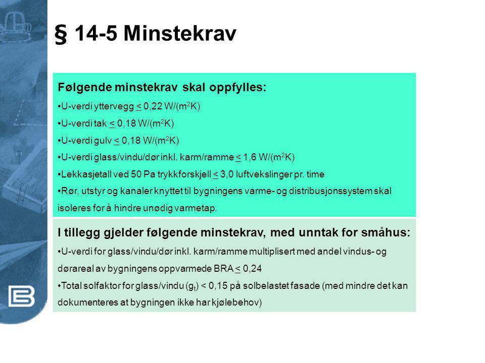 § 14-5 Minstekrav Følgende minstekrav skal oppfylles: U-verdi yttervegg < 0,22 W/(m 2 K) U-verdi tak < 0,18 W/(m 2 K) U-verdi gulv < 0,18 W/(m 2 K) U-
