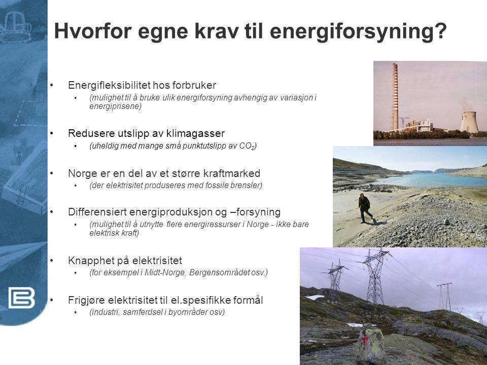 Hvorfor egne krav til energiforsyning? Energifleksibilitet hos forbruker (mulighet til å bruke ulik energiforsyning avhengig av variasjon i energipris