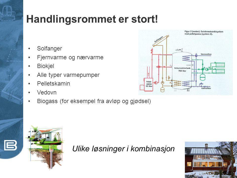 Handlingsrommet er stort! Solfanger Fjernvarme og nærvarme Biokjel Alle typer varmepumper Pelletskamin Vedovn Biogass (for eksempel fra avløp og gjøds