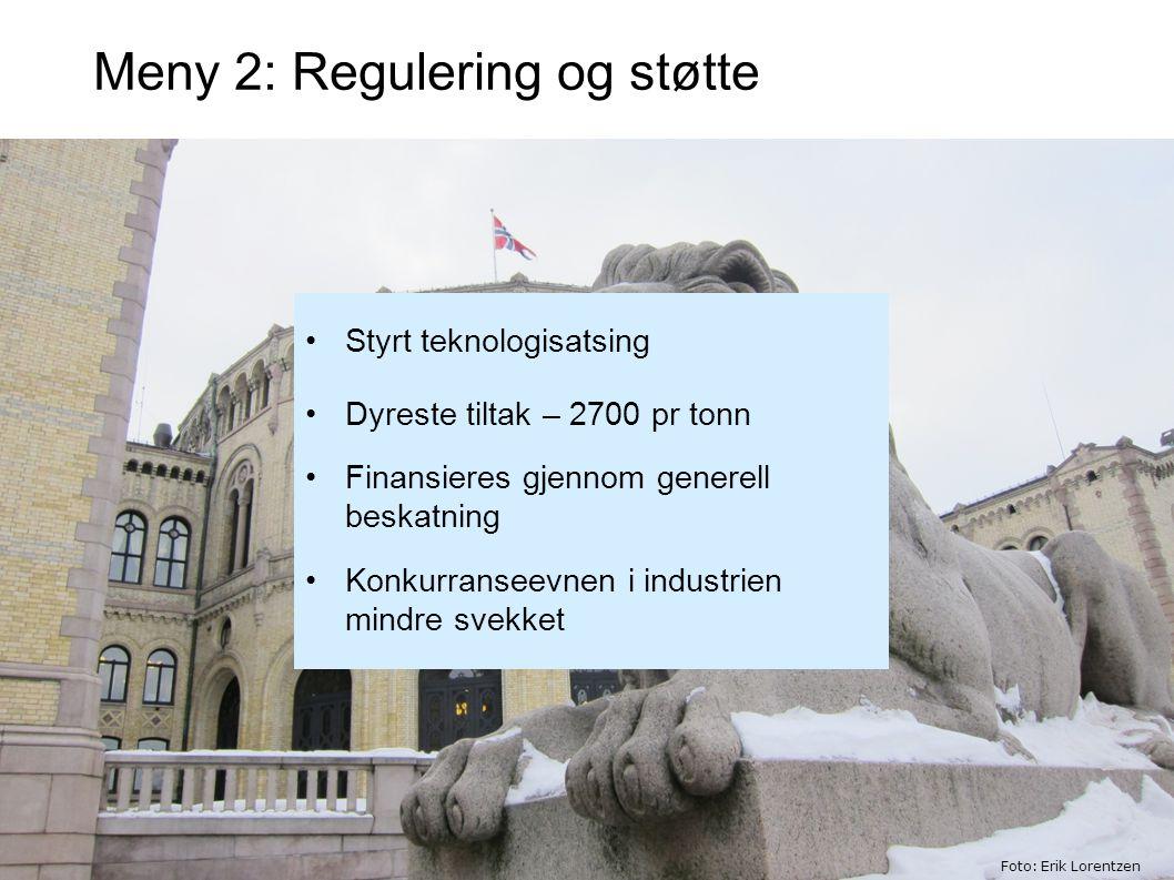 Meny 2: Regulering og støtte Styrt teknologisatsing Dyreste tiltak – 2700 pr tonn Finansieres gjennom generell beskatning Konkurranseevnen i industrien mindre svekket Foto: Erik Lorentzen