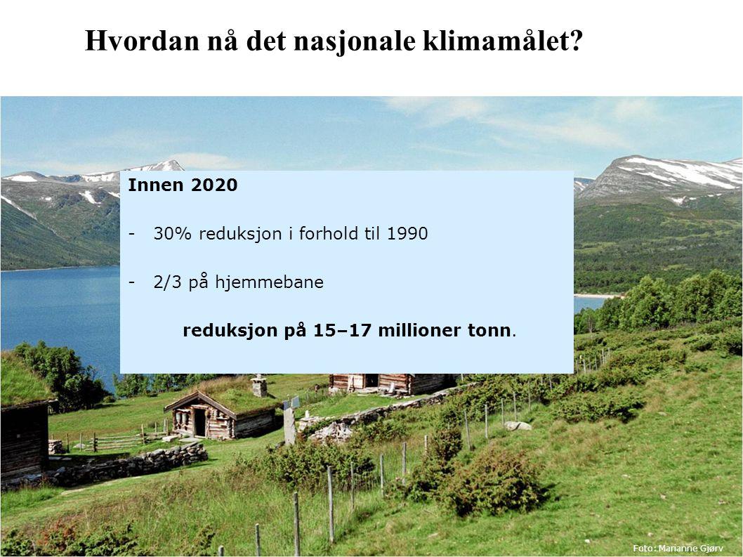 Hvordan nå det nasjonale klimamålet? Innen 2020 -30% reduksjon i forhold til 1990 -2/3 på hjemmebane reduksjon på 15–17 millioner tonn. Foto: Marianne