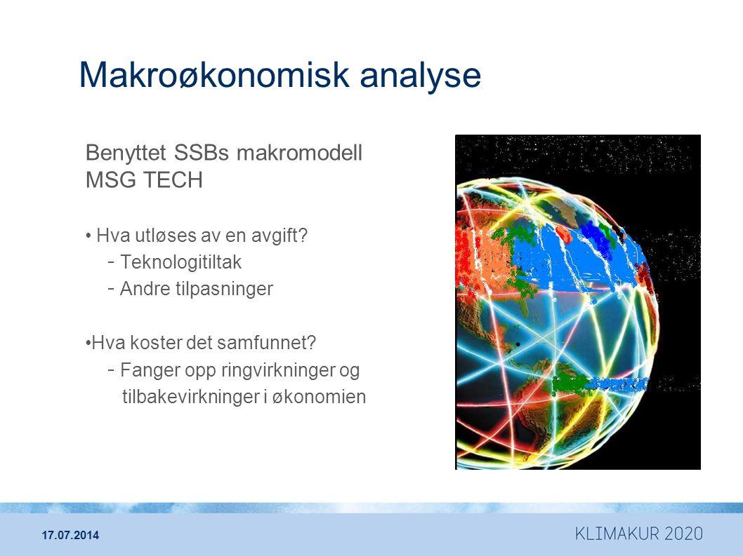 Makroøkonomisk analyse Benyttet SSBs makromodell MSG TECH Hva utløses av en avgift? - Teknologitiltak - Andre tilpasninger Hva koster det samfunnet? -