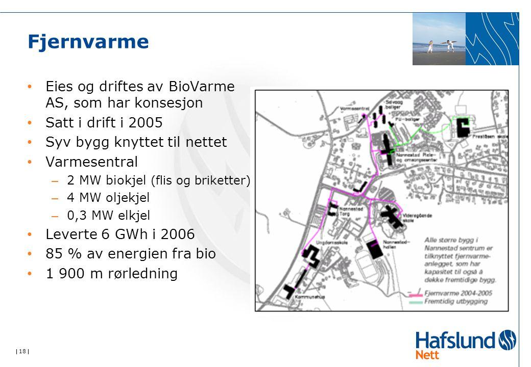  18  Fjernvarme Eies og driftes av BioVarme AS, som har konsesjon Satt i drift i 2005 Syv bygg knyttet til nettet Varmesentral – 2 MW biokjel (flis