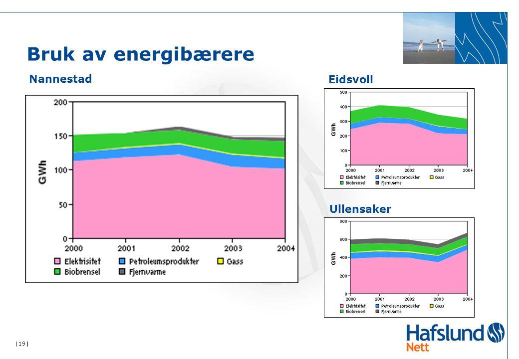  19  Bruk av energibærere Nannestad Eidsvoll Ullensaker