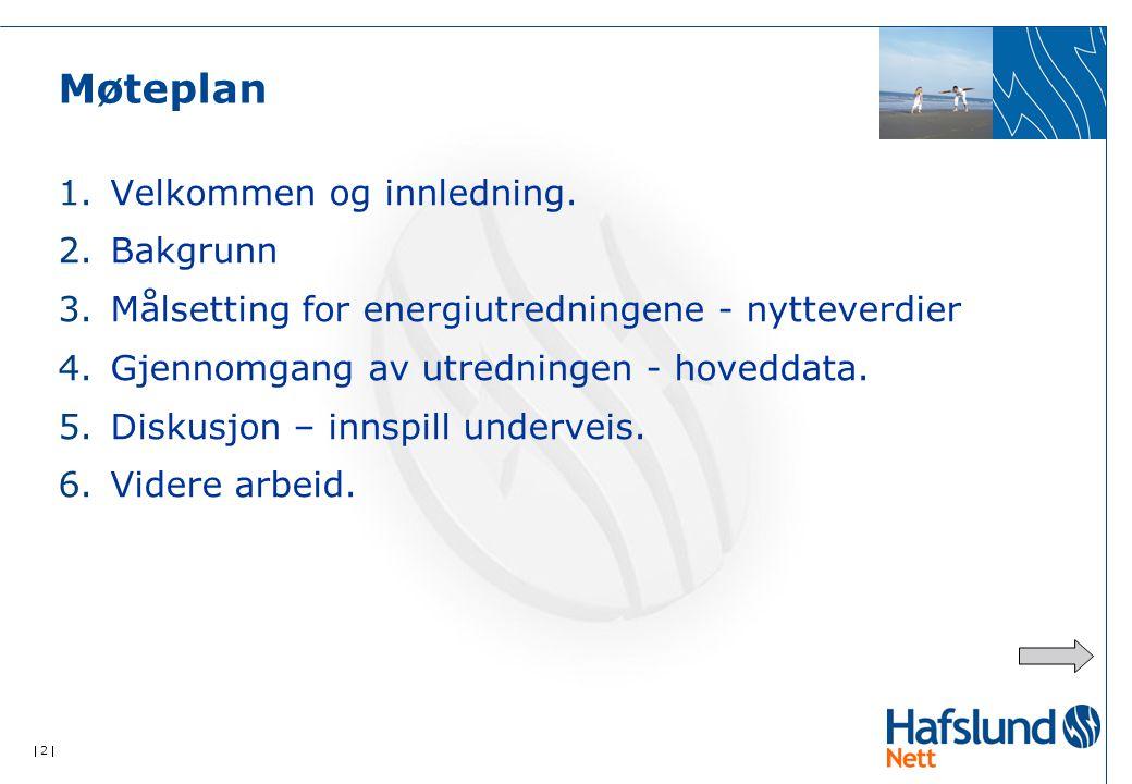  2  Møteplan 1.Velkommen og innledning. 2.Bakgrunn 3.Målsetting for energiutredningene - nytteverdier 4.Gjennomgang av utredningen - hoveddata. 5.Di
