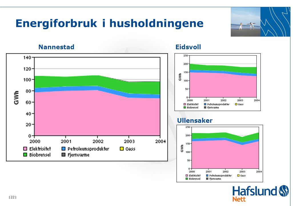  22  Energiforbruk i husholdningene Nannestad Eidsvoll Ullensaker