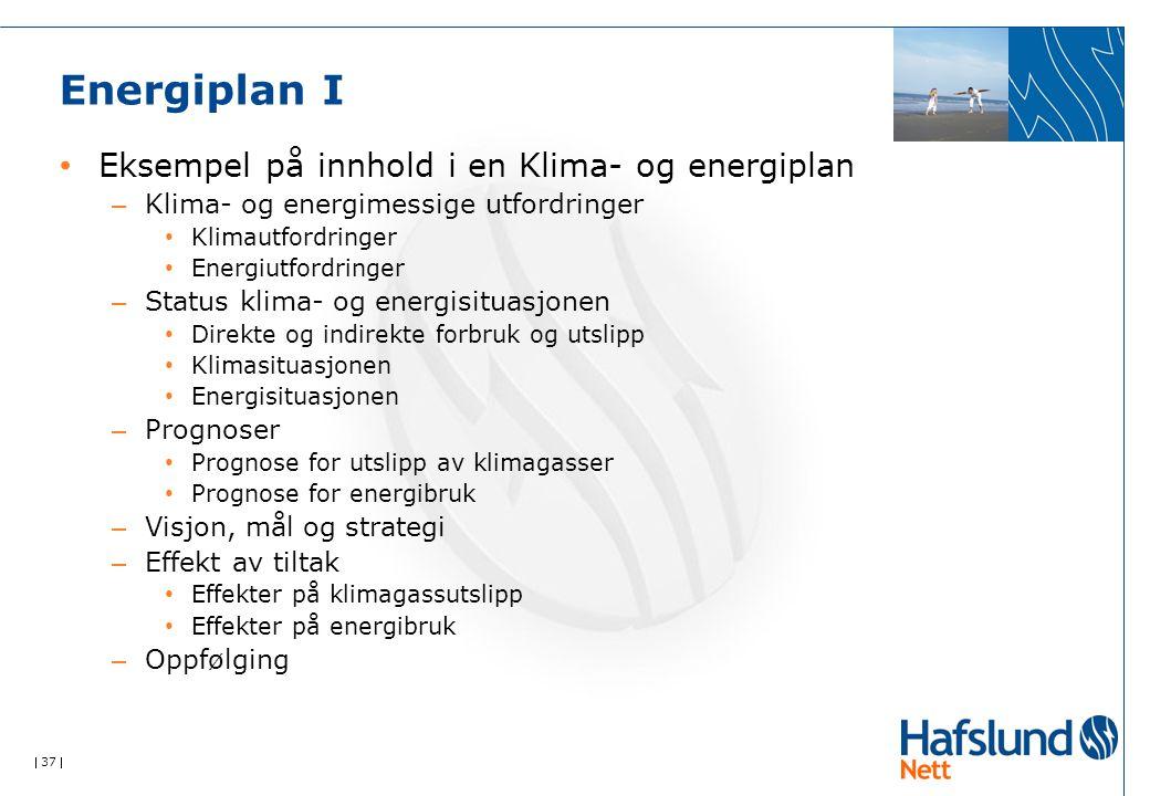  37  Energiplan I Eksempel på innhold i en Klima- og energiplan – Klima- og energimessige utfordringer Klimautfordringer Energiutfordringer – Status