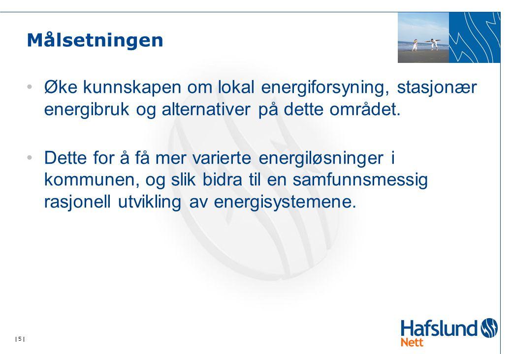  5  Målsetningen Øke kunnskapen om lokal energiforsyning, stasjonær energibruk og alternativer på dette området. Dette for å få mer varierte energil
