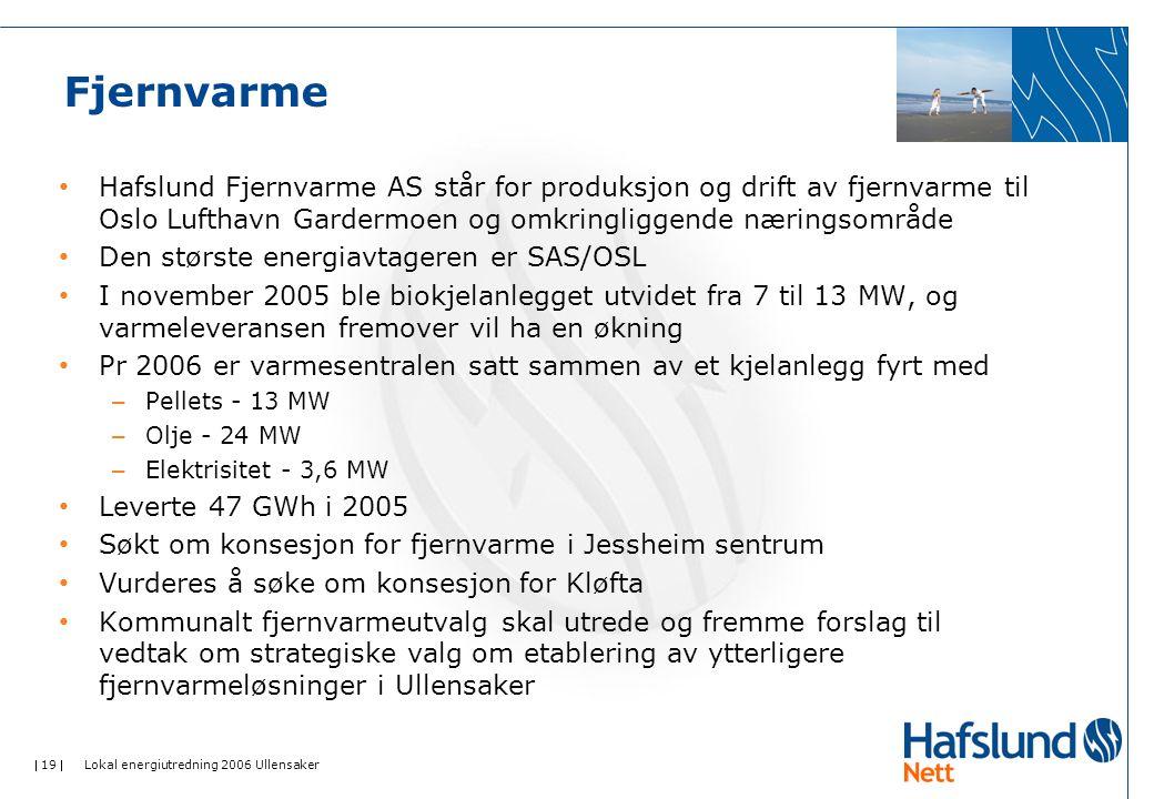  19  Lokal energiutredning 2006 Ullensaker Fjernvarme Hafslund Fjernvarme AS står for produksjon og drift av fjernvarme til Oslo Lufthavn Gardermoen