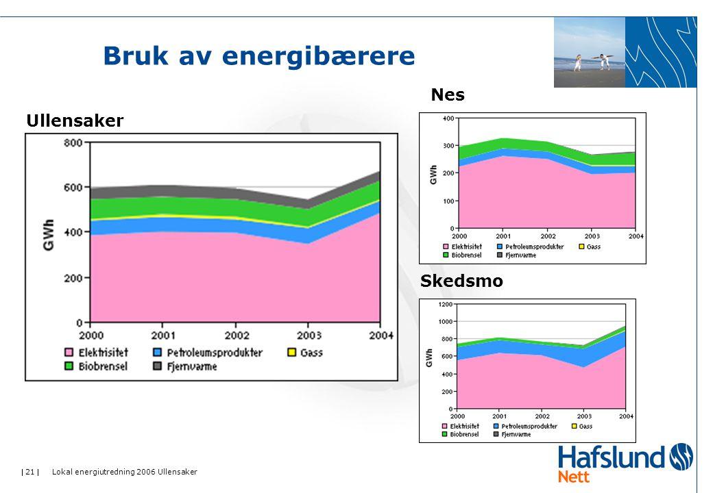  21  Lokal energiutredning 2006 Ullensaker Bruk av energibærere Ullensaker Nes Skedsmo