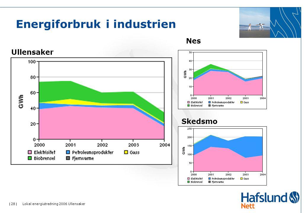  28  Lokal energiutredning 2006 Ullensaker Energiforbruk i industrien Ullensaker Nes Skedsmo