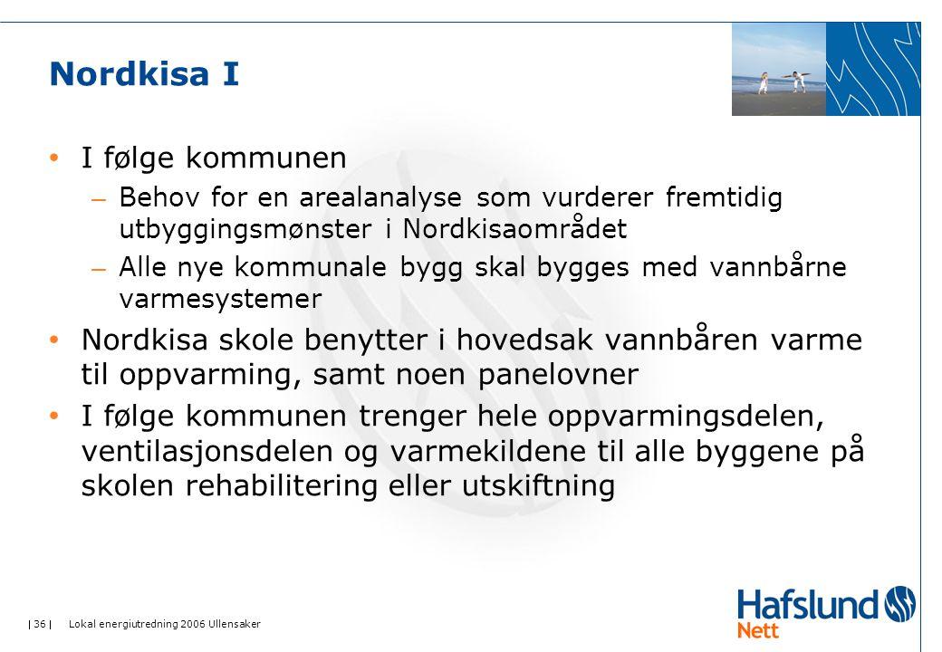  36  Lokal energiutredning 2006 Ullensaker Nordkisa I I følge kommunen – Behov for en arealanalyse som vurderer fremtidig utbyggingsmønster i Nordki