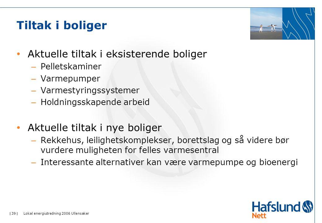  39  Lokal energiutredning 2006 Ullensaker Tiltak i boliger Aktuelle tiltak i eksisterende boliger – Pelletskaminer – Varmepumper – Varmestyringssys
