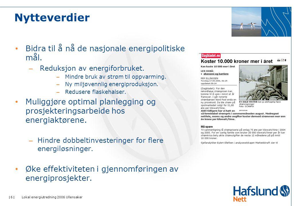  6  Lokal energiutredning 2006 Ullensaker Nytteverdier Bidra til å nå de nasjonale energipolitiske mål. – Reduksjon av energiforbruket. – Mindre bru
