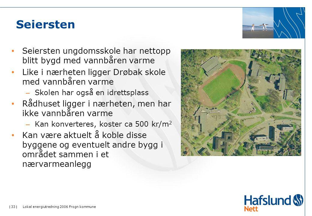  33  Lokal energiutredning 2006 Frogn kommune Seiersten Seiersten ungdomsskole har nettopp blitt bygd med vannbåren varme Like i nærheten ligger Drøbak skole med vannbåren varme – Skolen har også en idrettsplass Rådhuset ligger i nærheten, men har ikke vannbåren varme – Kan konverteres, koster ca 500 kr/m 2 Kan være aktuelt å koble disse byggene og eventuelt andre bygg i området sammen i et nærvarmeanlegg