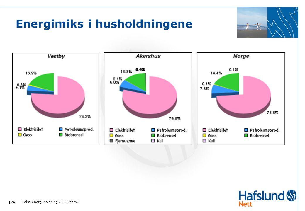  24  Lokal energiutredning 2006 Vestby Energimiks i husholdningene