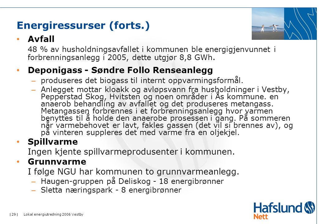  29  Lokal energiutredning 2006 Vestby Energiressurser (forts.) Avfall 48 % av husholdningsavfallet i kommunen ble energigjenvunnet i forbrenningsan