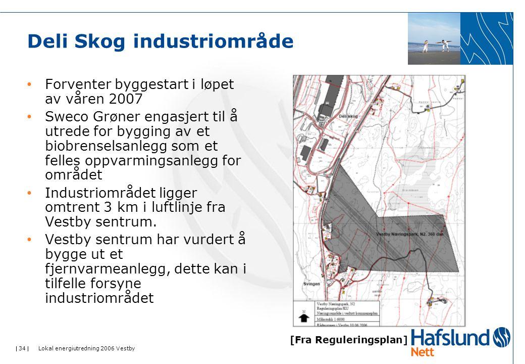  34  Lokal energiutredning 2006 Vestby Deli Skog industriområde Forventer byggestart i løpet av våren 2007 Sweco Grøner engasjert til å utrede for b