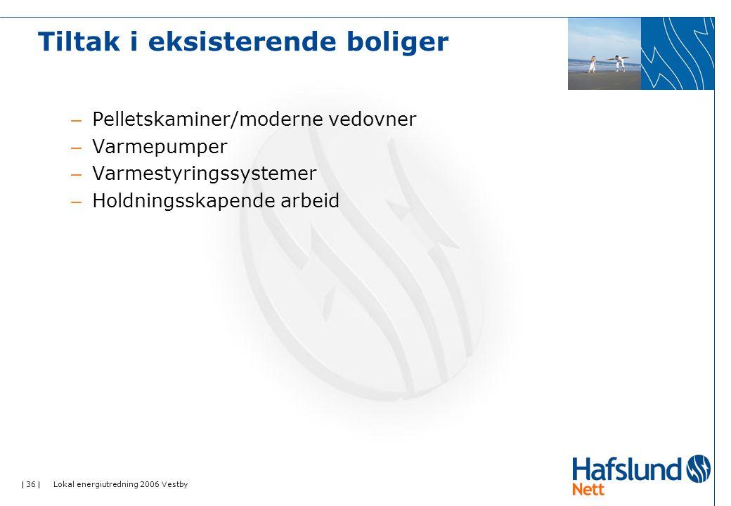  36  Lokal energiutredning 2006 Vestby – Pelletskaminer/moderne vedovner – Varmepumper – Varmestyringssystemer – Holdningsskapende arbeid Tiltak i e