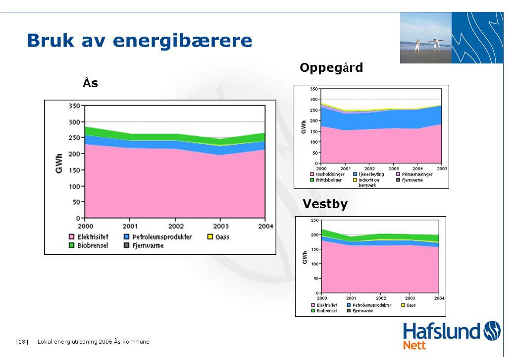  18  Lokal energiutredning 2006 Ås kommune Bruk av energibærere ÅsÅs Oppeg å rd Vestby