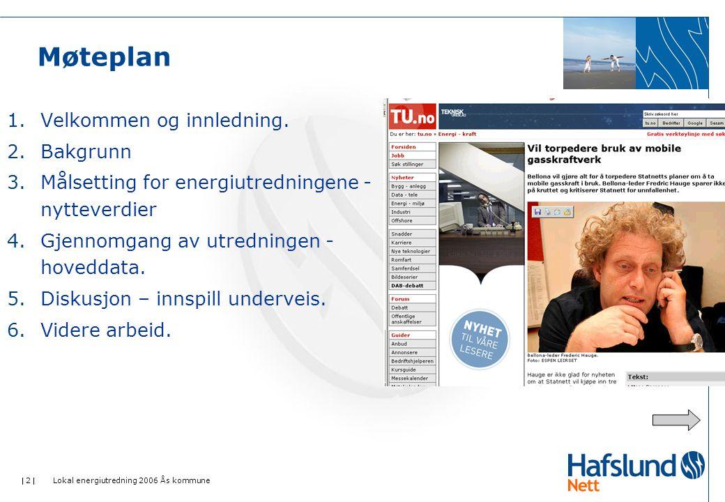  2  Lokal energiutredning 2006 Ås kommune Møteplan 1.Velkommen og innledning. 2.Bakgrunn 3.Målsetting for energiutredningene - nytteverdier 4.Gjenno