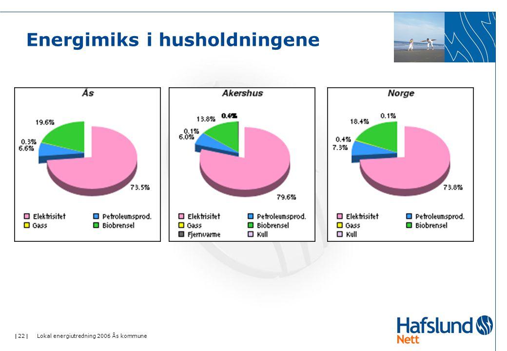  22  Lokal energiutredning 2006 Ås kommune Energimiks i husholdningene