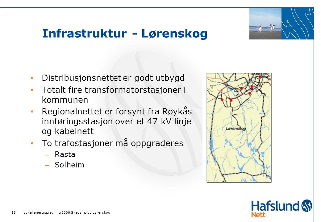  18  Lokal energiutredning 2006 Skedsmo og Lørenskog Infrastruktur - Lørenskog Distribusjonsnettet er godt utbygd Totalt fire transformatorstasjoner i kommunen Regionalnettet er forsynt fra Røykås innføringsstasjon over et 47 kV linje og kabelnett To trafostasjoner må oppgraderes – Rasta – Solheim