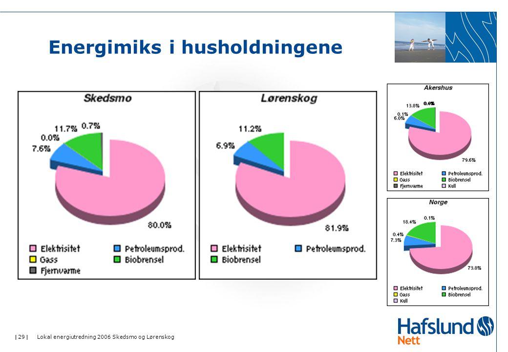  29  Lokal energiutredning 2006 Skedsmo og Lørenskog Energimiks i husholdningene
