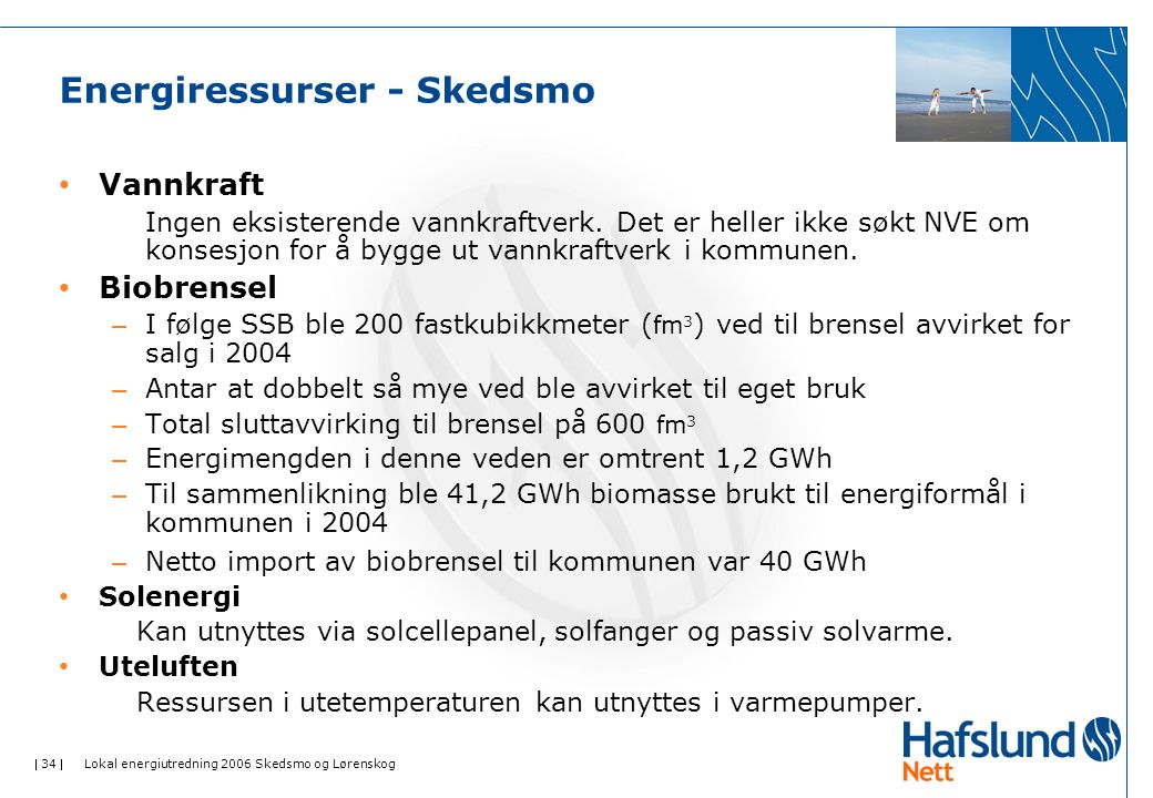  34  Lokal energiutredning 2006 Skedsmo og Lørenskog Energiressurser - Skedsmo Vannkraft Ingen eksisterende vannkraftverk. Det er heller ikke søkt N