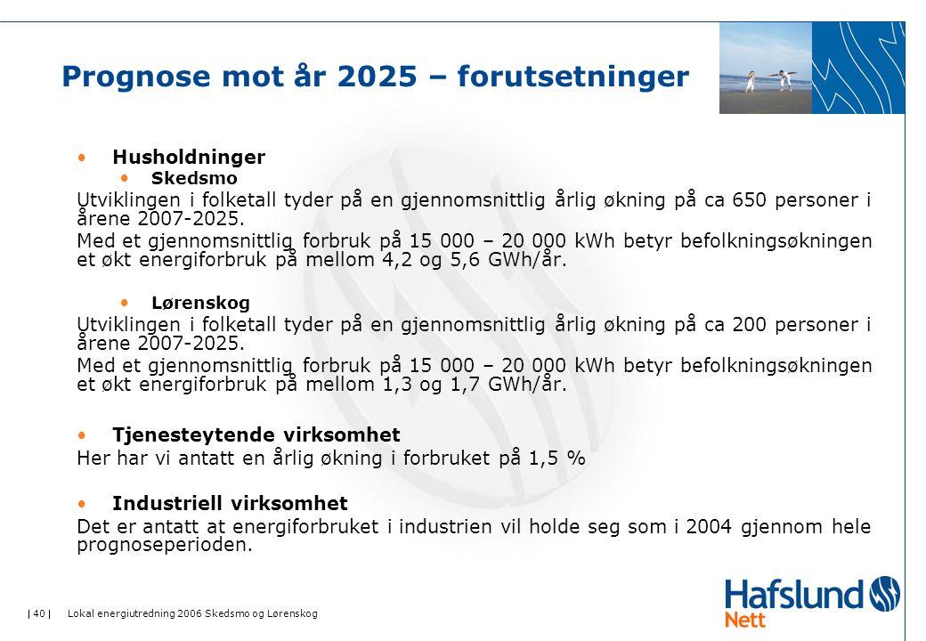  40  Lokal energiutredning 2006 Skedsmo og Lørenskog Prognose mot år 2025 – forutsetninger Husholdninger Skedsmo Utviklingen i folketall tyder på en gjennomsnittlig årlig økning på ca 650 personer i årene 2007-2025.