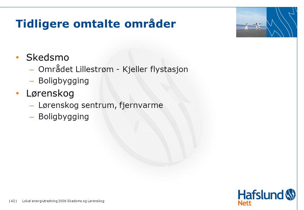  42  Lokal energiutredning 2006 Skedsmo og Lørenskog Tidligere omtalte områder Skedsmo – Området Lillestrøm - Kjeller flystasjon – Boligbygging Løre