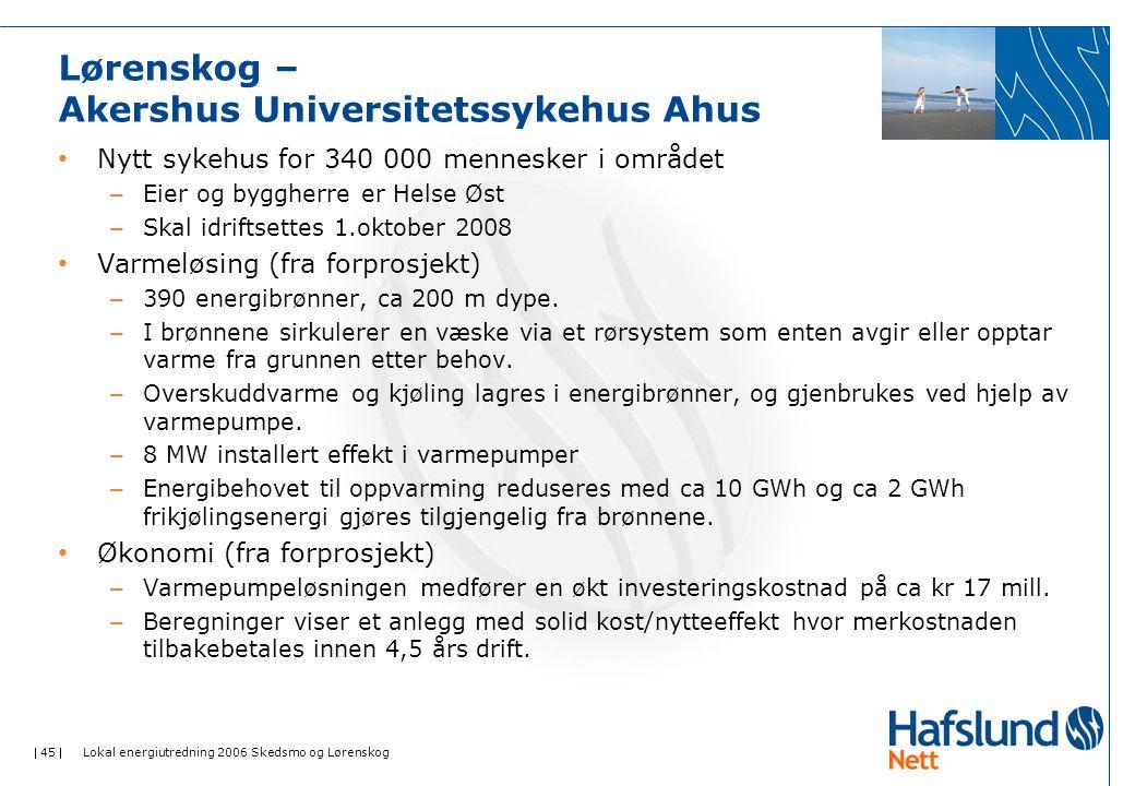  45  Lokal energiutredning 2006 Skedsmo og Lørenskog Lørenskog – Akershus Universitetssykehus Ahus Nytt sykehus for 340 000 mennesker i området – Eier og byggherre er Helse Øst – Skal idriftsettes 1.oktober 2008 Varmeløsing (fra forprosjekt) – 390 energibrønner, ca 200 m dype.