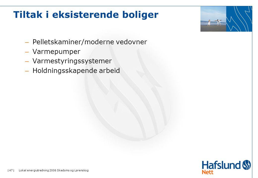  47  Lokal energiutredning 2006 Skedsmo og Lørenskog – Pelletskaminer/moderne vedovner – Varmepumper – Varmestyringssystemer – Holdningsskapende arb
