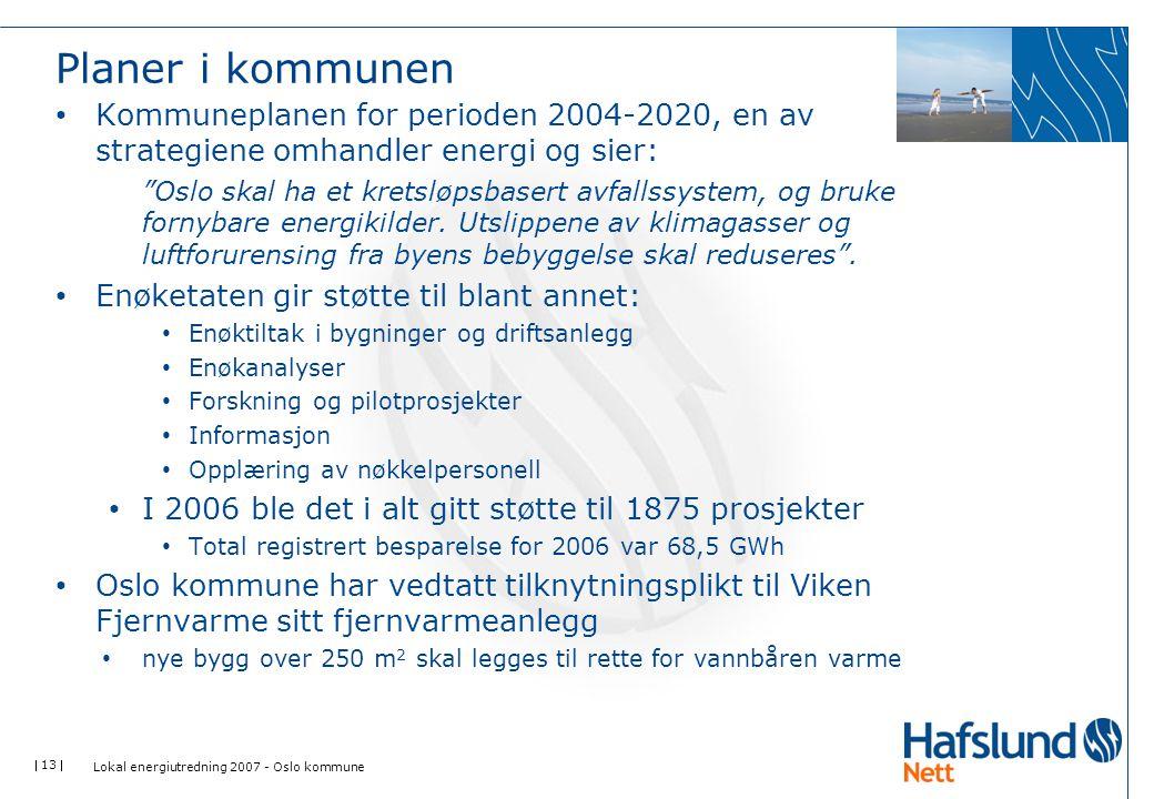 """ 13  Planer i kommunen Kommuneplanen for perioden 2004-2020, en av strategiene omhandler energi og sier: """"Oslo skal ha et kretsløpsbasert avfallssys"""