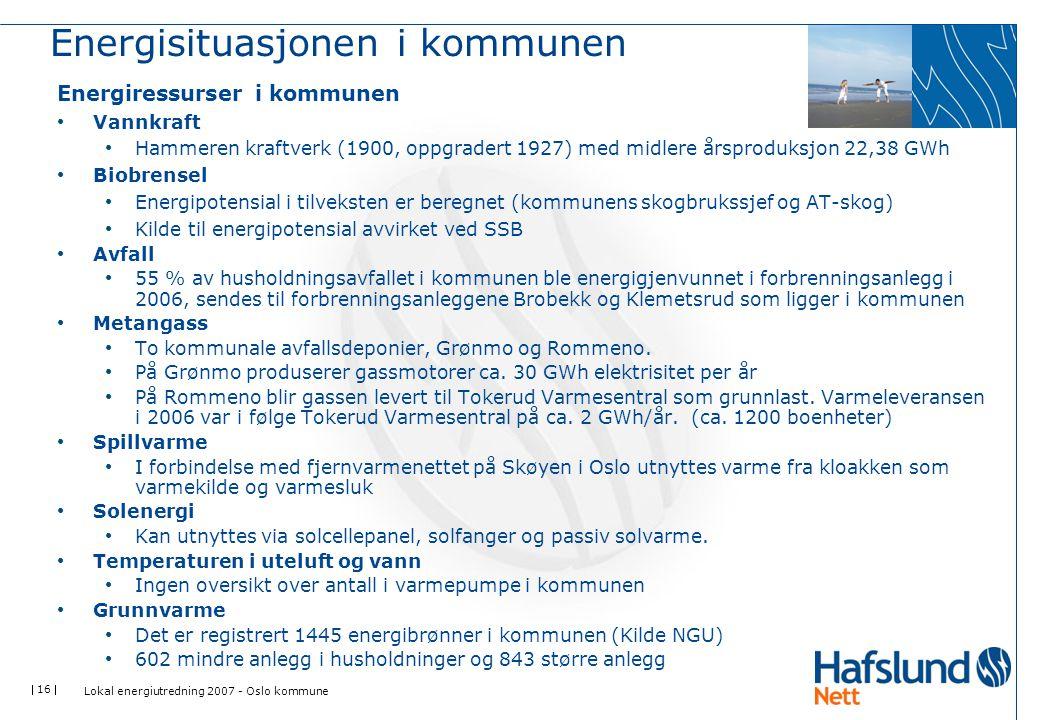  16  Energisituasjonen i kommunen Energiressurser i kommunen Vannkraft Hammeren kraftverk (1900, oppgradert 1927) med midlere årsproduksjon 22,38 GW