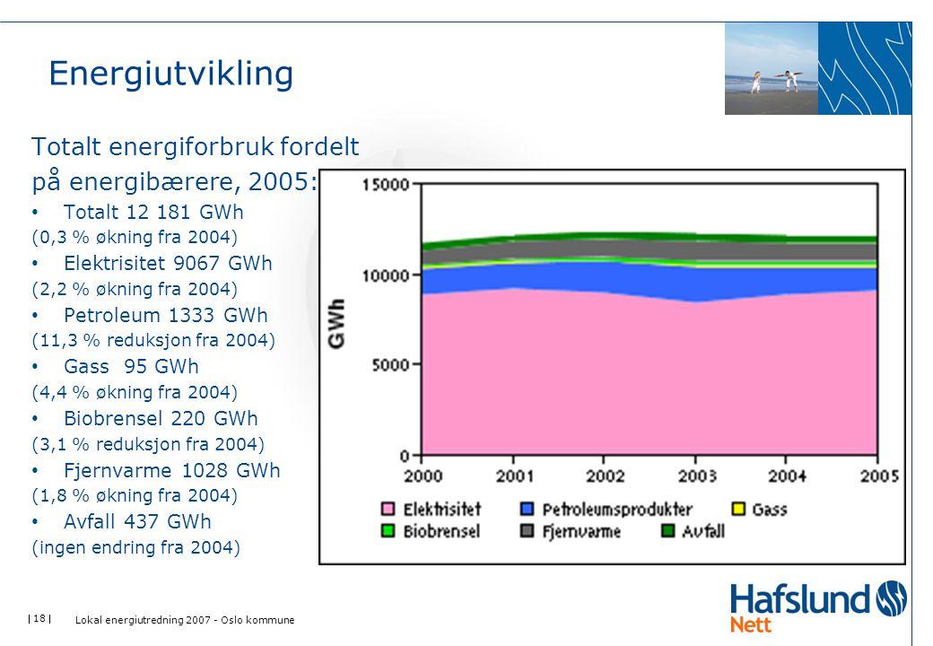  18  Energiutvikling Totalt energiforbruk fordelt på energibærere, 2005: Totalt 12 181 GWh (0,3 % økning fra 2004) Elektrisitet 9067 GWh (2,2 % økni