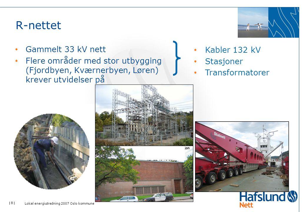  8  R-nettet Gammelt 33 kV nett Flere områder med stor utbygging (Fjordbyen, Kværnerbyen, Løren) krever utvidelser på Kabler 132 kV Stasjoner Transf
