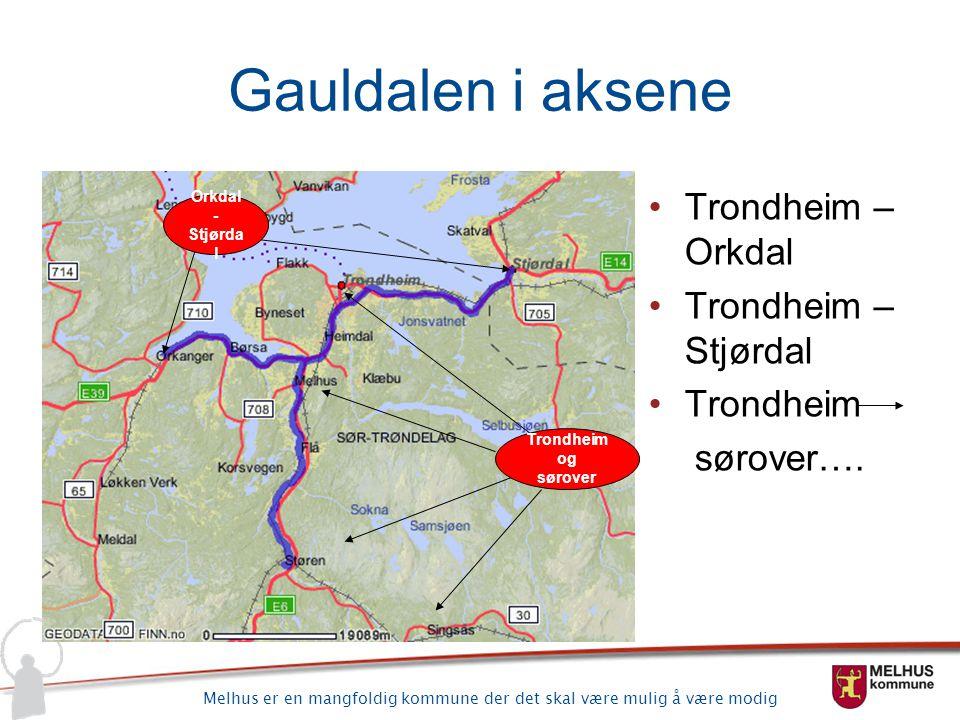 Melhus er en mangfoldig kommune der det skal være mulig å være modig Gauldalen i aksene Orkdal - Stjørda l Trondheim og sørover Trondheim – Orkdal Tro
