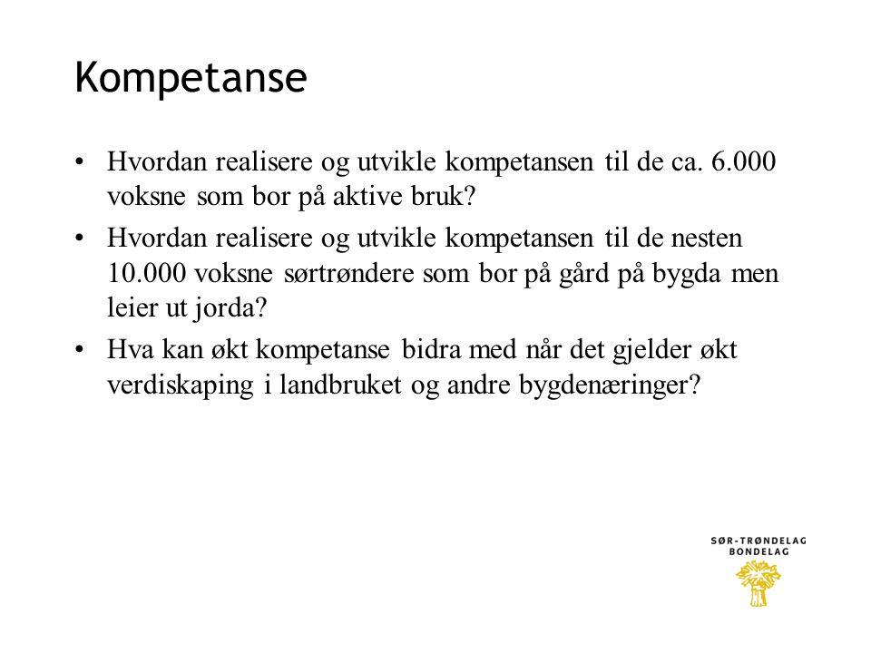 Kompetanse Hvordan realisere og utvikle kompetansen til de ca. 6.000 voksne som bor på aktive bruk? Hvordan realisere og utvikle kompetansen til de ne