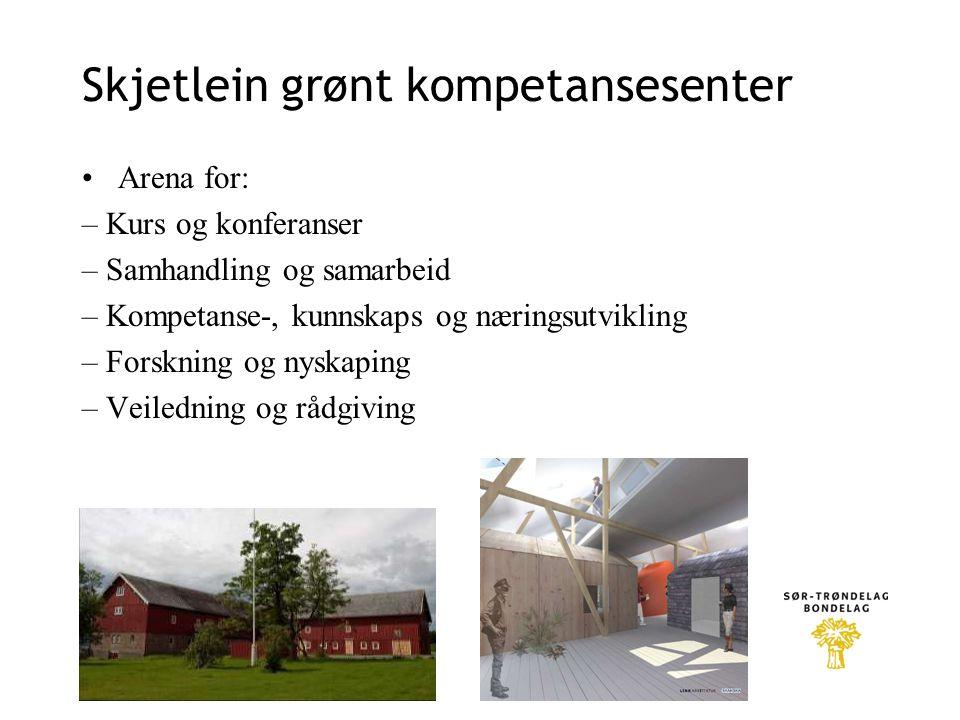 Skjetlein grønt kompetansesenter Arena for: – Kurs og konferanser – Samhandling og samarbeid – Kompetanse-, kunnskaps og næringsutvikling – Forskning