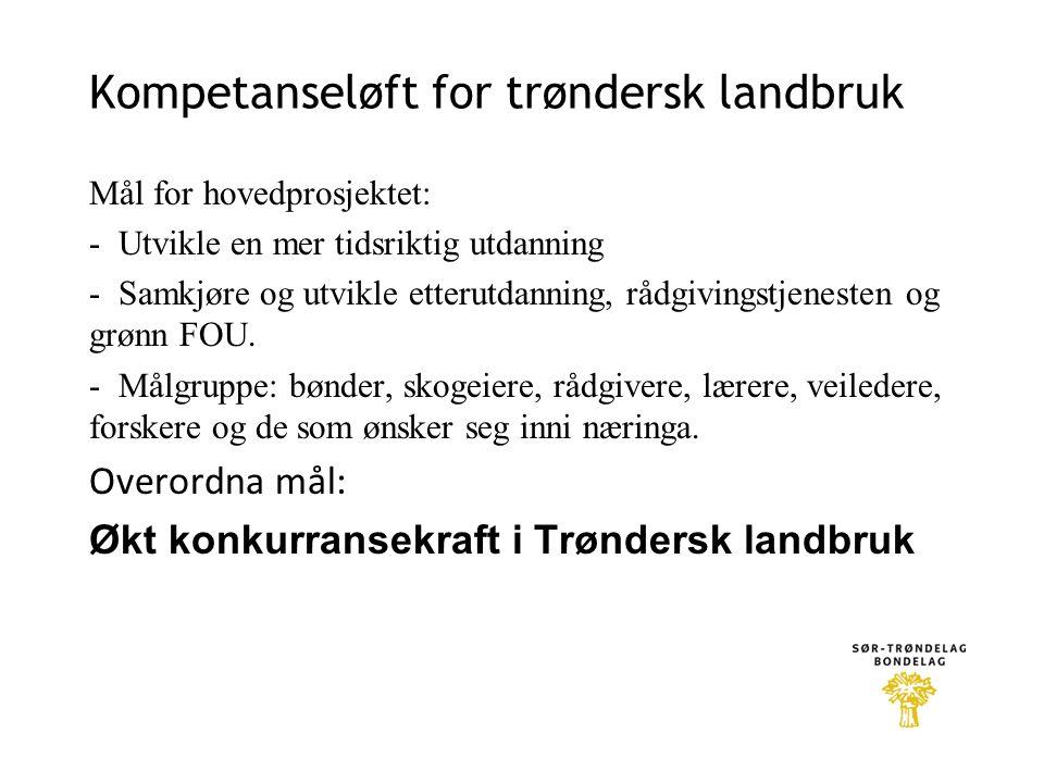 Kompetanseløft for trøndersk landbruk Mål for hovedprosjektet: - Utvikle en mer tidsriktig utdanning - Samkjøre og utvikle etterutdanning, rådgivingst