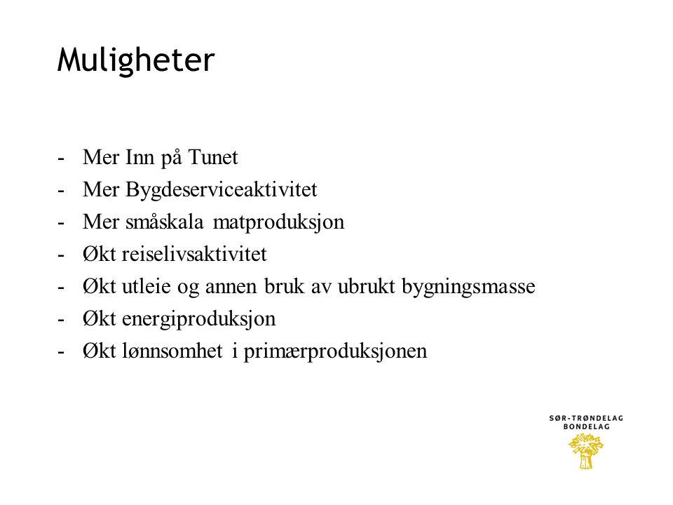 Muligheter -Mer Inn på Tunet -Mer Bygdeserviceaktivitet -Mer småskala matproduksjon -Økt reiselivsaktivitet -Økt utleie og annen bruk av ubrukt bygnin