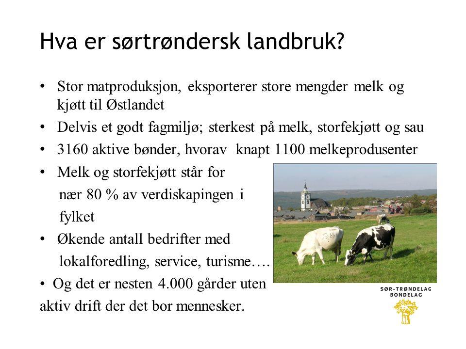 Hva er sørtrøndersk landbruk? Stor matproduksjon, eksporterer store mengder melk og kjøtt til Østlandet Delvis et godt fagmiljø; sterkest på melk, sto